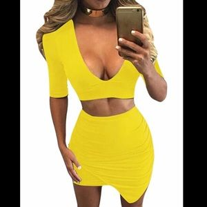 Two Piece Yellow Co-Ord Skirt Set | Small
